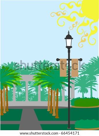Large sunny day tropical lush palm tree filled vector illustration