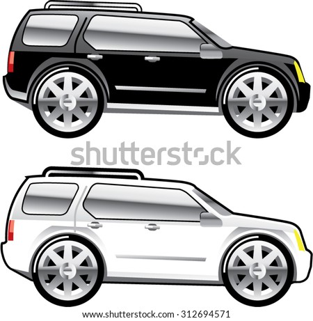 Large SUV stylized with large chrome Rims Vector