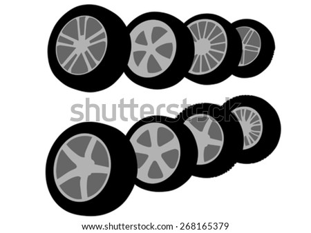 Large tires for the car on a white background - stock vector