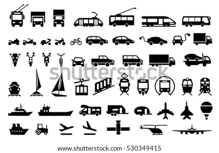 Large transport icons set. flat symbols vector