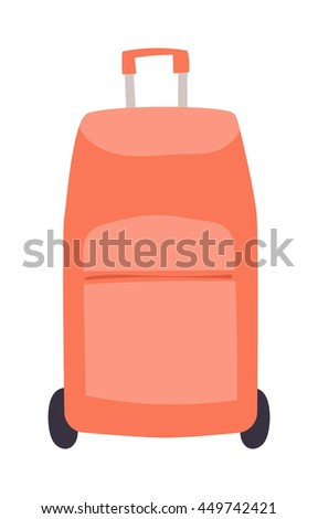Large travel bag suitcase isolated on white and suitcase travel voyage. Travel suitcase handle baggage and suitcase tourist packing. Summer travel vacation bag - stock vector