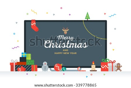 Large TV with Congratulatory text Merry Christmas and Happy New Year with gifts, presents, bauble, candy. Modern Geek Christmas Card - stock vector