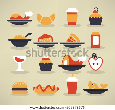 large vector collection of  food images in info-graphic style - stock vector
