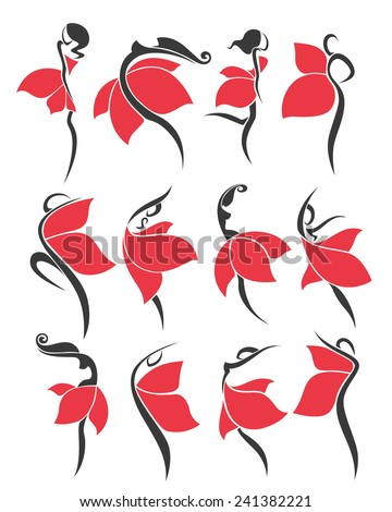 large vector collection of girls in red dresses look like a flowers - stock vector