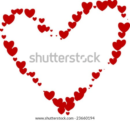 large vector heart made of hearts - stock vector