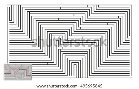 Large Vector Horizontal Maze with Answer 14
