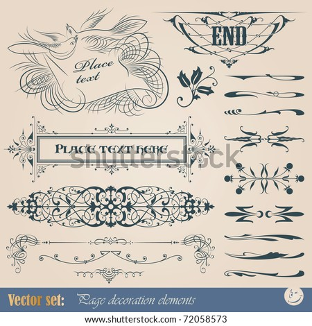 Large vector set for design and decoration page in calligraphic and vintage style