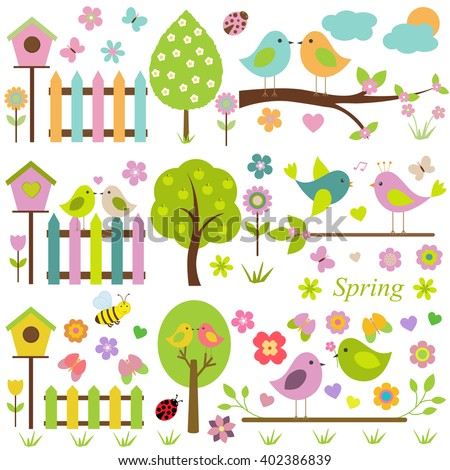 Large vector set for the spring theme. Spring nature, different birds, birdhouses, trees, flowers, insects.