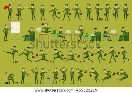 Large vector set of businessman character poses, gestures and actions. Office worker professional standing, walking, talking on phone, working, running, jumping, searching, and more. art