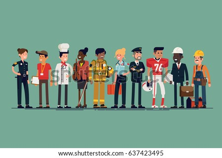 Large vector set of different profession characters in flat design. Men and women of different careers and jobs line-up. Group portrait of specialists and professionals
