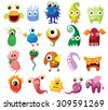 Large vector set of drawings of different characters isolated monsters, germs, bacteria, aliens and other Halloween characters for your design, prints and banners  - stock vector