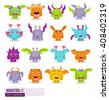 Large vector set of drawings of different characters isolated monsters. Halloween characters for your design, prints and banners - stock vector