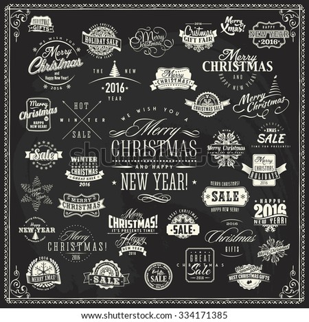 Large vector set of merry christmas and happy new year labels and design elements for xmas sales and greeting cards on retro vintage chalkboard background - stock vector