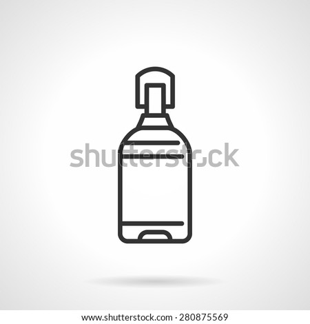 Large water bottle for water cooler. Flat black line vector icon on white background. - stock vector