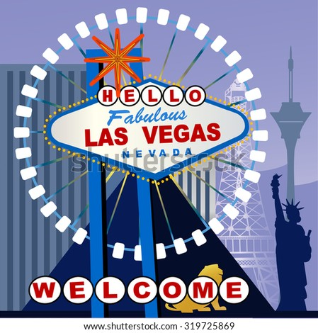 Las Vegas Sign altered to say HELLO  - stock vector