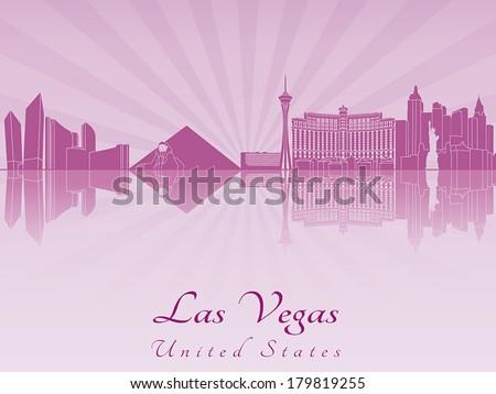 Las Vegas skyline in purple radiant orchid in editable vector file - stock vector