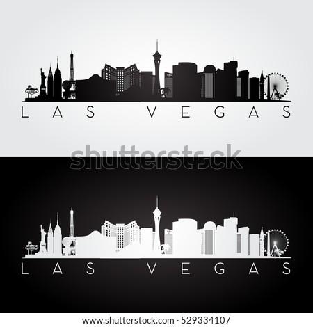 Las Vegas Usa Skyline Landmarks Silhouette Stock Vector