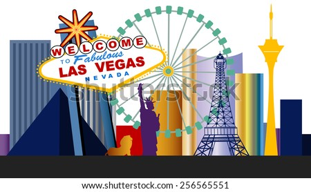 Las Vegas Welcome sign and city  - stock vector