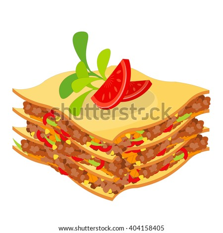 Lasagna Isolated on White Background. Traditional Italian Cuisine. Vector Illustration. - stock vector