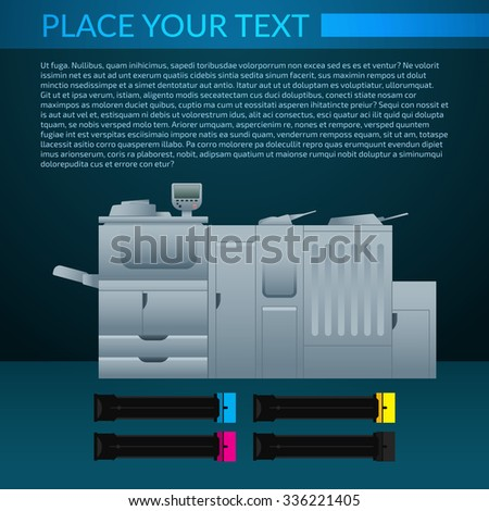 Laser color printer and color cartridge on dark blue background.  Equipment for office work. Copy and scan machine. Document template with text. - stock vector