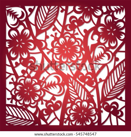 Laser cut flower pattern decorative panel stock vector 545748547 laser cut flower pattern for decorative panel vector template ready for printing postcards packets stopboris Images