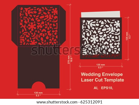 Laser cut flower pattern wedding invitation stock vector hd royalty laser cut flower pattern for wedding invitation envelope vector template floral panel for paper stopboris Image collections