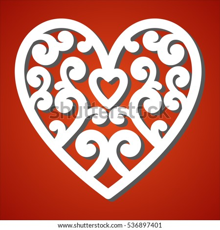 Laser Cut Heart Paper Cutting Valentines Stock Vector 536897401
