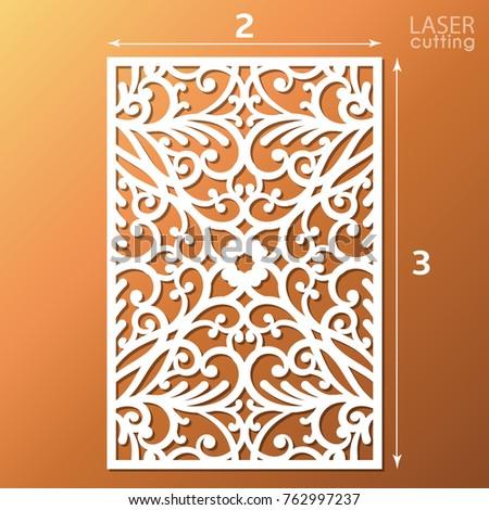 Laser cut ornamental panel pattern template stock vector 762997237 laser cut ornamental panel with pattern template of wedding invitation or greeting card cabinet stopboris Choice Image