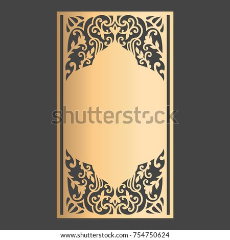 Laser cut panel design wedding invitation stock vector 754750624 laser cut panel design wedding invitation card with ornamental border stopboris Images