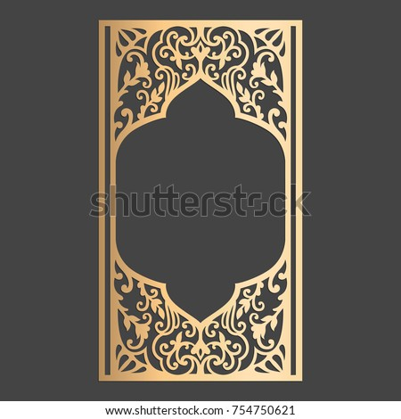 Laser cut panel design wedding invitation stock vector 754750621 laser cut panel design wedding invitation card with ornamental border arch window stopboris Images