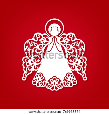 Laser Cut Paper Christmas Angel Decoration Stock Vector - Amazing artist carves beautiful designs paper