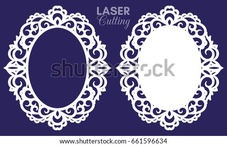 Laser Cut Vector Abstract Oval Frames Stock Vector 661596634 ...