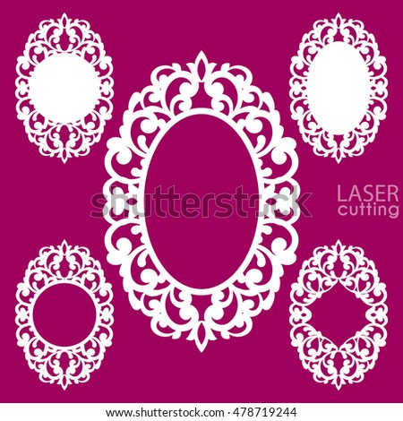 Laser Cut Vector Frame Collection Set Stock
