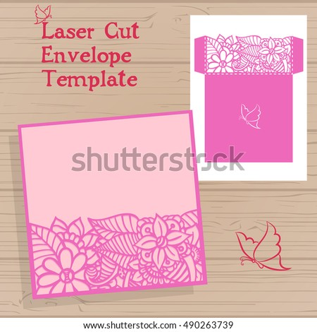 Laser cut vector wedding invitation template. Envelope with flowers for laser cutting. Lace gate folds.