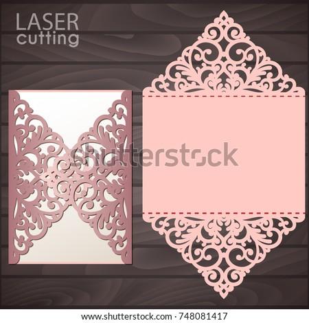 Laser Cut Wedding Invitation Card Template Stock Vector ...