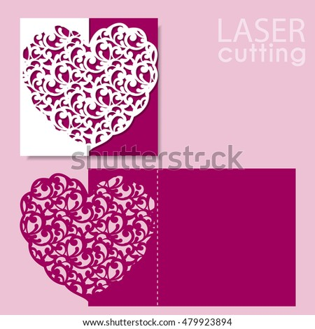 laser cut wedding invitation or greeting card template vector with lace heart image suitable for