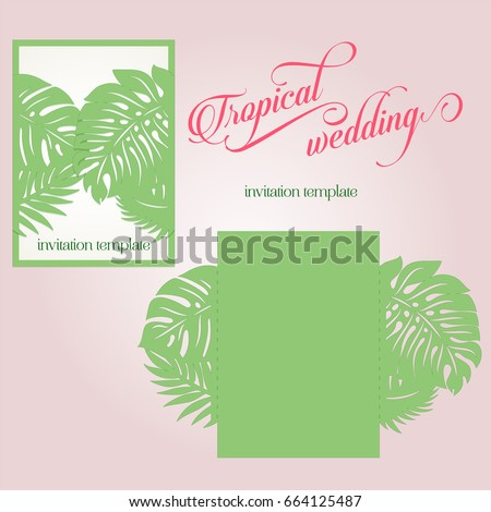 Laser cut wedding invitation tropical palm stock vector royalty laser cut wedding invitation with tropical palm leaves template silhouette studio vector design destination wedding stopboris Image collections