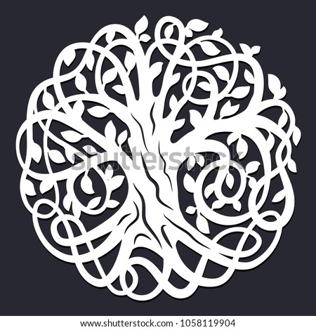 laser cutting template decorative celtic tree of life paper cutout design vector silhouette