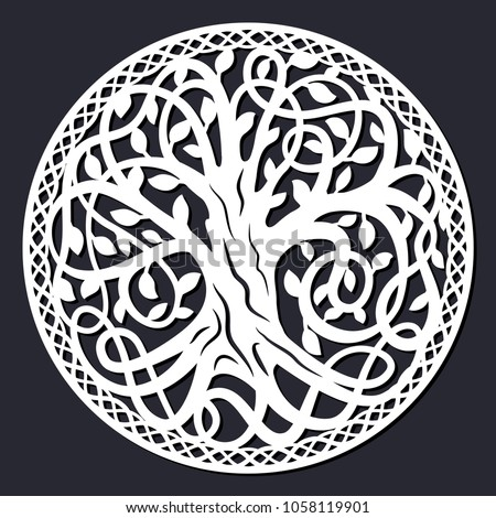 laser cutting template decorative celtic tree of life with circular border paper cutout art