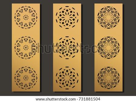 Mehndi Patterns Vector : Laser engraving panels set contemporary geometric stock vector hd