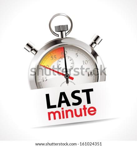 Last minute concept - stopwatch  - stock vector