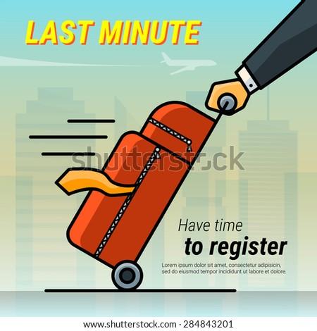 Last minute ticket. Hot travel. Vector outline cartoon illustration - stock vector
