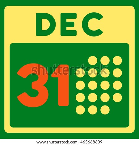 Last Year Date vector icon. Style is bicolor flat symbol, orange and yellow colors, rounded angles, green background.