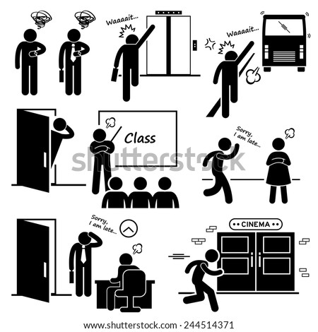 Late and Rushing for Elevator, Bus, Class, Date, Job Interview, and Movie Cinema Stick Figure Pictogram Icons - stock vector