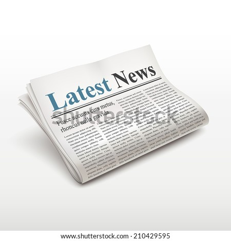 latest news words on newspaper over white background - stock vector