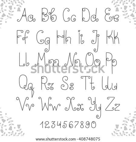 Latin Alphabet Decorative Lowercase Uppercase Fonts Stock Vector ...
