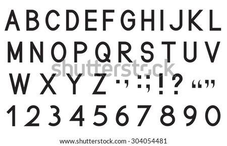 Latin alphabet letters with set of numbers 1, 2, 3, 4, 5, 6, 7, 8, 9, 0 and punctuation signs, black isolated on white background, vector illustration. - stock vector