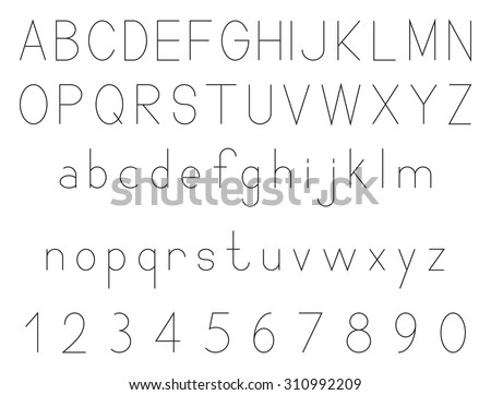 Latin alphabet letters with set of numbers 1, 2, 3, 4, 5, 6, 7, 8, 9, 0, outlined, black isolated on white background, vector illustration. - stock vector