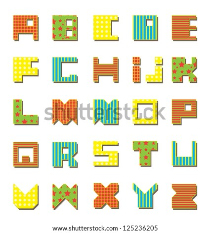 Latin Alphabet. Square at the base. Seamless saved./ Colored Alphabet - stock vector
