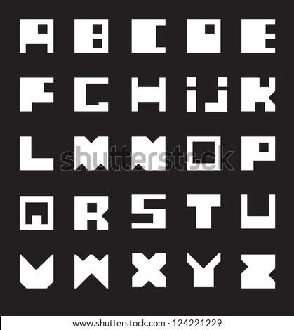 Latin Alphabet. Square at the base./ White Alphabet - stock vector
